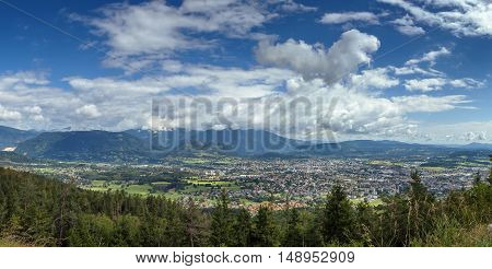 Panoramic view of Villach and surrounding area from mountain Austria