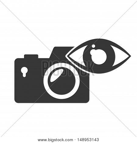 photographic camera device with eye icon silhouette. vector illustration