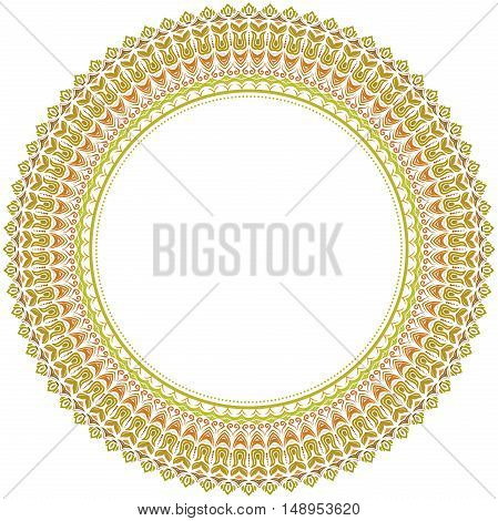 Oriental round frame with arabesques and floral elements. Floral fine border. Greeting card with place for text. Round colorful pattern