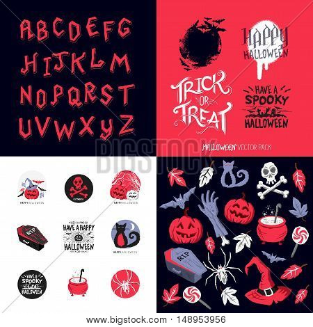 Fun Happy Halloween pack of symbols and designs. Vector illustration.
