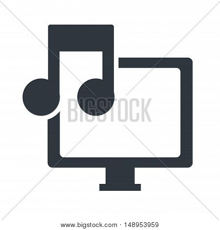 screen monitor computer technology device with musical note symbol. vector illustration