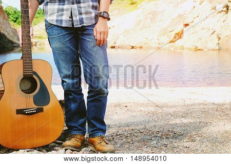 man and guitar outdoor relax concepts vintage style