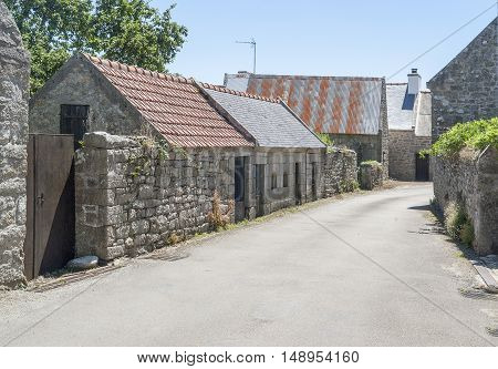 scenery around chapel Saint Tugen in Primelin a commune in the Finistere department of Brittany in north-western France.