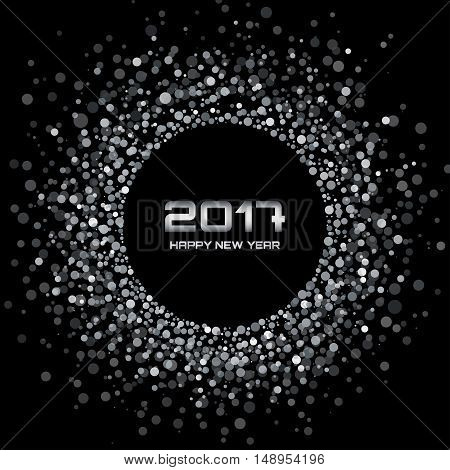 Black - White color New Year 2017 Background. Glowing white confetti circle new year frame. Gray - white shining circle background. Vector illustration