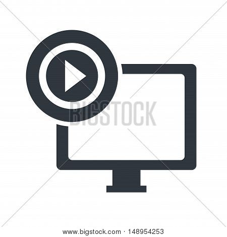screen monitor computer technology device with play button icon. vector illustration
