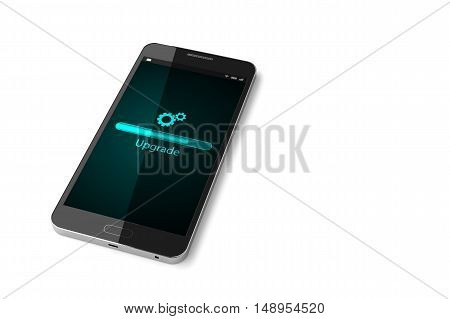Smartphone with upgrade screen on display. 3D illustration