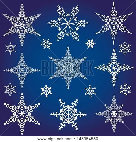 Snowflake big set, Silhouette icon, Winter elements.Christmas, new year holiday decor.Star shape crystal Vector.Doodles.