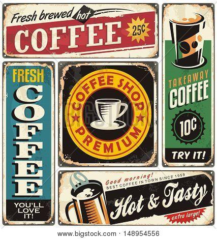 Coffee shop retro metal signs collection. Vintage coffee label templates.