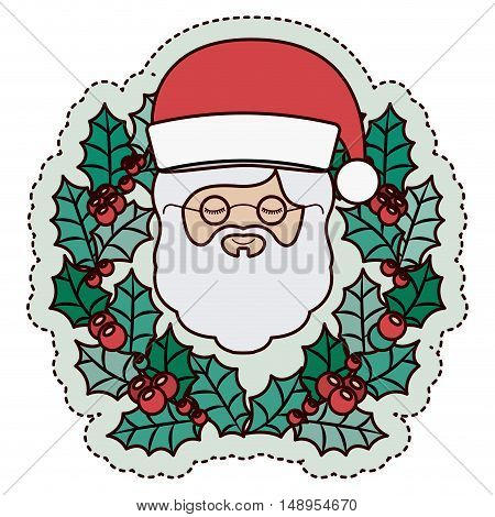 Santa and crown icon. Merry Christmas season and decoration theme. Isolated design. Vector illustration