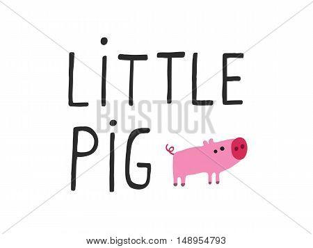 Little Pig design for decoration. Vector illustration.