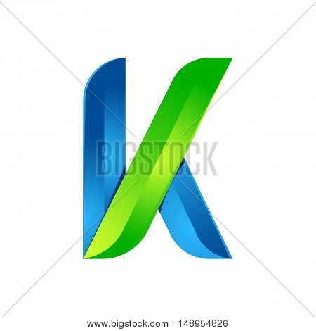 K letter leaves eco logo volume icon. Vector design green and blue template elements an icon for your ecology application or company.