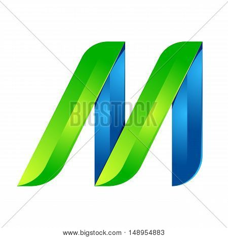 M letter leaves eco logo volume icon. Vector design green and blue template elements an icon for your ecology application or company.