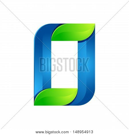 O letter leaves eco logo volume icon. Vector design green and blue template elements an icon for your ecology application or company.