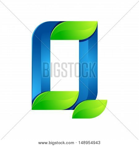Q letter leaves eco logo volume icon. Vector design green and blue template elements an icon for your ecology application or company.