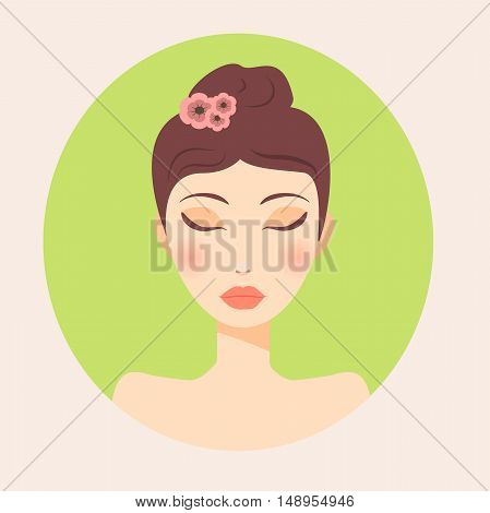 Very high quality original trendy  vector girl portrait for spa, ads or brochure