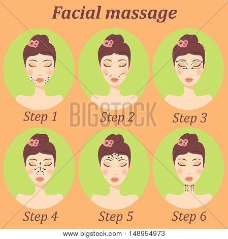 Very high quality original trendy  vector girl facial massage set