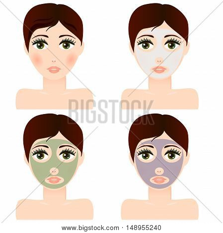 Very high quality original trendy  vector girl portrait with facial skin mask