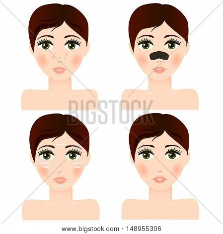 Very high quality original trendy  vector girl portrait with facial skin patch