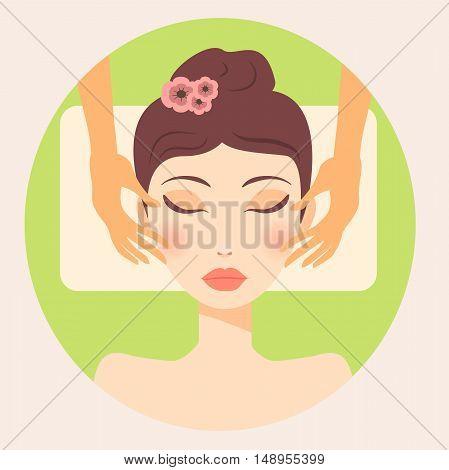 Very high quality original trendy  vector girl facial massage