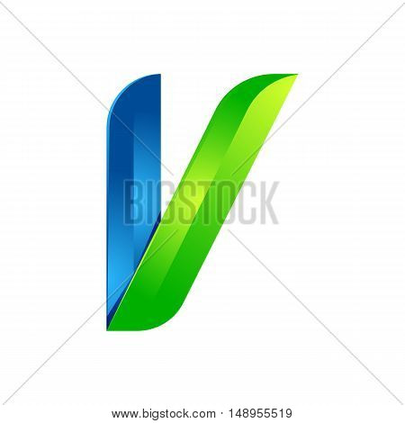 V letter leaves eco logo volume icon. Vector design green and blue template elements an icon for your ecology application or company.