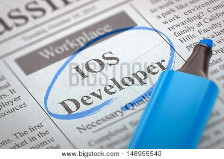 Newspaper with Jobs Section Vacancy IOS Developer. Blurred Image with Selective focus. Hiring Concept. 3D.