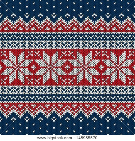 Winter Holiday Knitted Sweater Design. Seamless Fair Isle Knitting Pattern
