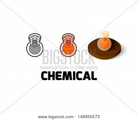 Chemical icon, vector symbol in flat, outline and isometric style