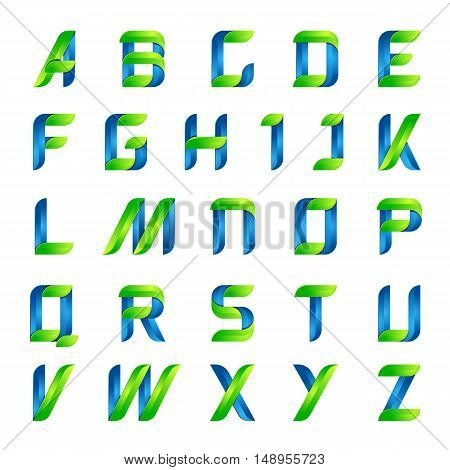 Ecology english alphabet letters green and blue design template elements icon ecology application.