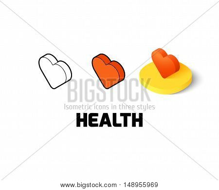 Health icon, vector symbol in flat, outline and isometric style
