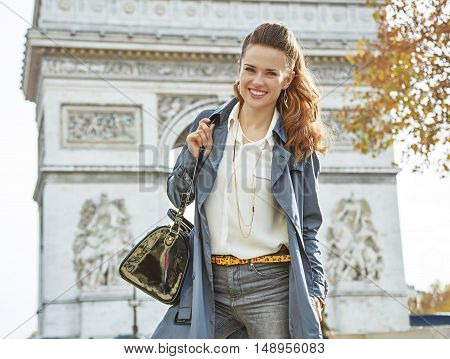 Happy Young Elegant Woman In Trench Coat In Paris, France