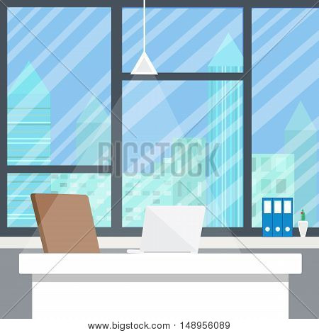 Office workplace in evening. Flat design background