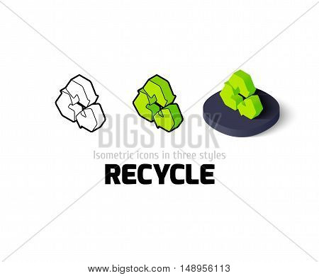 Recycle icon, vector symbol in flat, outline and isometric style