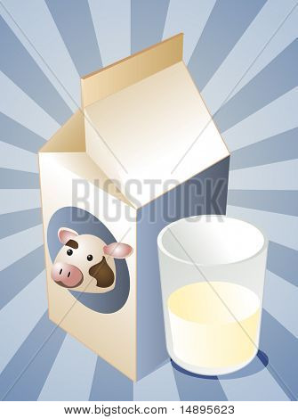Cow milk carton with filled glass illustration