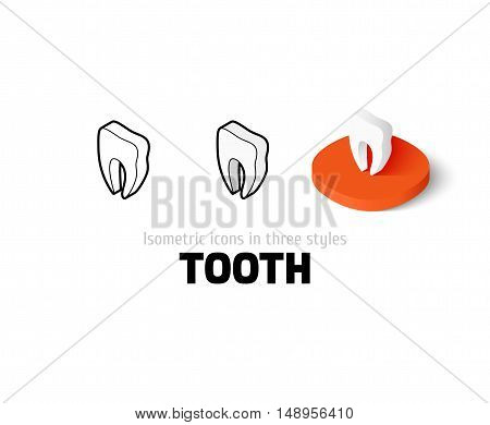 Tooth icon, vector symbol in flat, outline and isometric style
