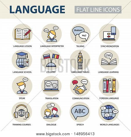 Set modern linear icons on the topic of learning a foreign language. Vector color logos for schools, colleges and universities.