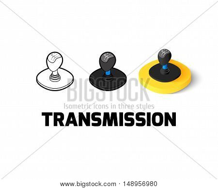 Transmission icon, vector symbol in flat, outline and isometric style