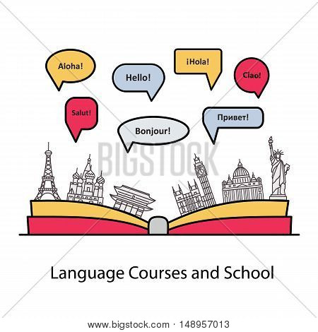 Vector logo for the language courses and schools. Modern linear concept with an open book, with speech bubbles in different languages and the worlds landmarks.