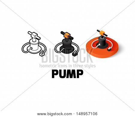 Pump icon, vector symbol in flat, outline and isometric style