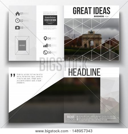 Set of annual report business templates for brochure, magazine, flyer or booklet. Polygonal background, blurred image, urban landscape, Paris cityscape, modern triangular vector texture.