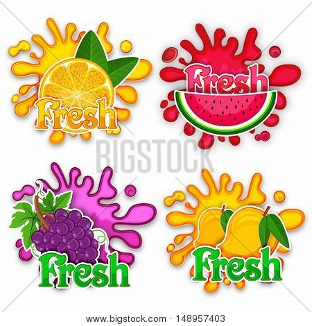 Creative Stickers of Fresh Orange, Watermelon, Grapes and Mango with splash, Set of Typographic Labels for Natural Fruits, Food and Drink concept for Cafe, Bar and Restaurant Menu design.