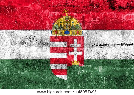 Flag Of Hungary With Coat Of Arms, Painted On Dirty Wall
