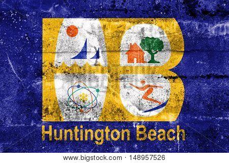 Flag Of Huntington Beach, California, Usa, Painted On Dirty Wall