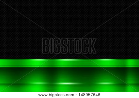green metal banner on black carbon fiber. metal background. 3d illustration.