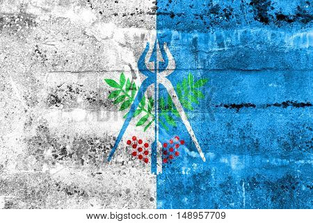 Flag Of Izhevsk, Russia, Painted On Dirty Wall