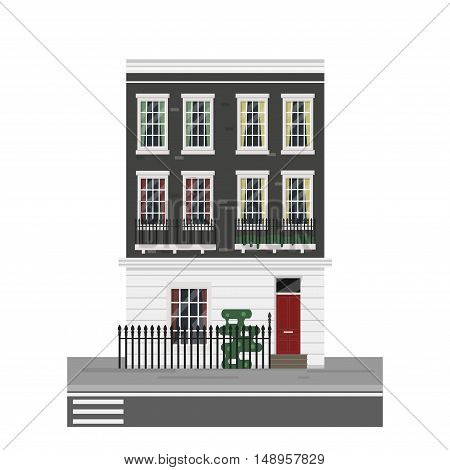 Detailed isolated vector old town victorian style house. English town house