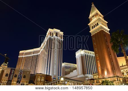 LAS VEGAS - DEC 24: St Mark's Campanile (Campanile di San Marco) of The Venetian on Las Vegas Strip at night on Dec. 24, 2016 in Las Vegas, Nevada, USA.