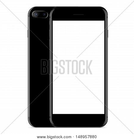 vector mockup phone front and side view black color on white background