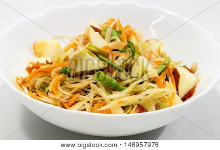 Thai papaya salad also known as Som Tum from Thailand