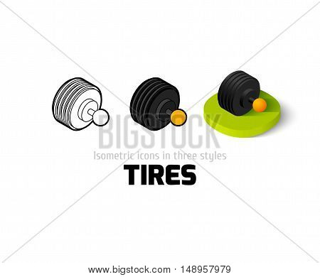 Tires icon, vector symbol in flat, outline and isometric style