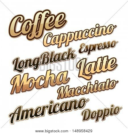 Various creative Coffee Lettering design collection, Hot and Fresh Coffee Labels, Stickers and Tags set, Vector illustration for Cafe, Bar and Restaurant Menu, Food and Drink concept.